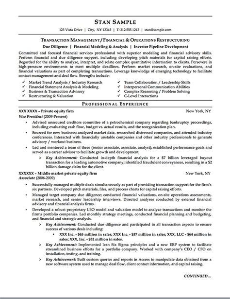 Private Equity Resume  Careers Done Write