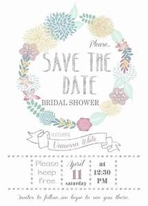 printable floral 39save the date39 bridal shower 5x7 With wedding shower save the date