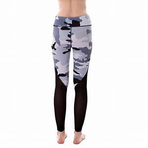 Gray Camouflage with Black Mesh Patchwork Womenu0026#39;s Leggings ...