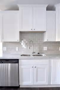 white kitchen cabinets with backsplash smoke glass subway tile grey subway tiles grey and glasses