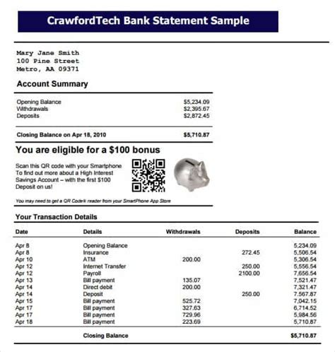 bank statement templates word excel sheet