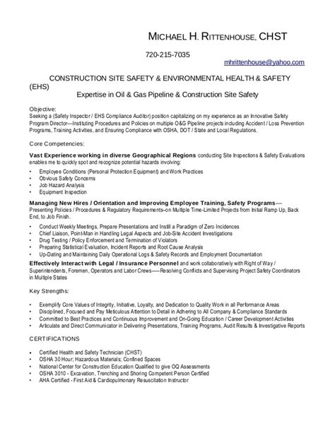 and safety inspector cover letter rittenhouse inspector resume