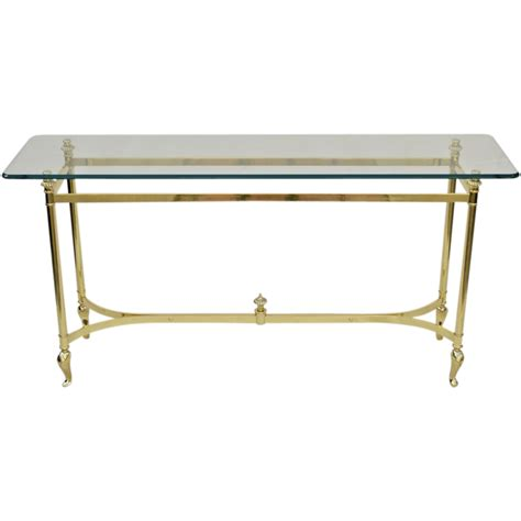 glass sofa table italian brass and glass table sofa console from tolw on ruby lane