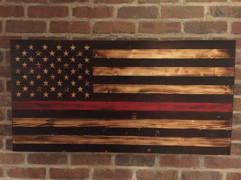 torched firefighter flag rustic wood flag fireman gift