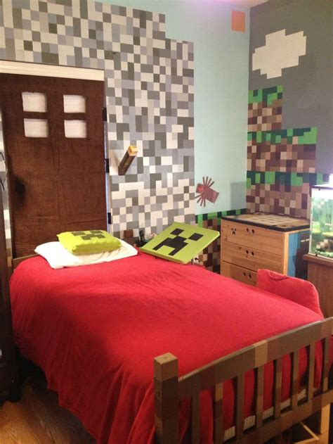 minecraft room decor ideas minecraft bedroom home liams minecraft themed bedroom