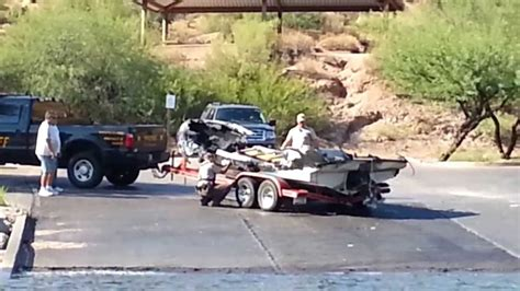 Boat R Patterson Lakes by Saguaro Lake Boat Catches Dock One 8 11 2013