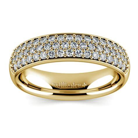 row pave diamond wedding ring  yellow gold