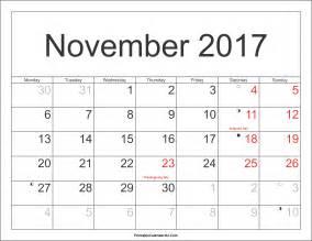 November 2017 Calendar With Holidays   monthly calendar 2017