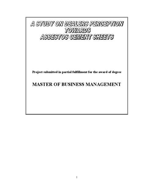 study  dealers perception  asbestos cement