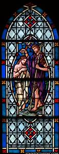 """""""Baptism by John the Baptist"""" Religious Stained Glass Window"""