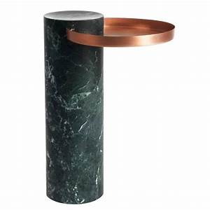High Salute Coffee Table Green Marble Copper Tray For