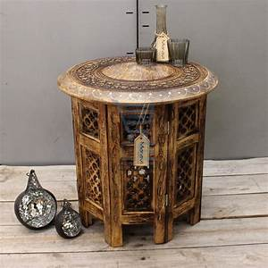 medium side table with aluminium inlay indian mango wood With indian carved coffee table