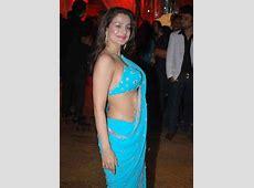 Amisha Patel Wears Blue Hot Fashion Saree SheClickcom