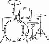Coloring Drum Drawing Drums Kit Printable Instruments Musical Tattoo sketch template