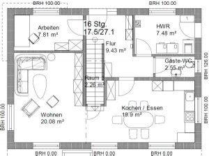 Grundriss Mit Treppe In Der Mitte by Grundriss Efh 2 Dach 11 X 8 M Seite 2