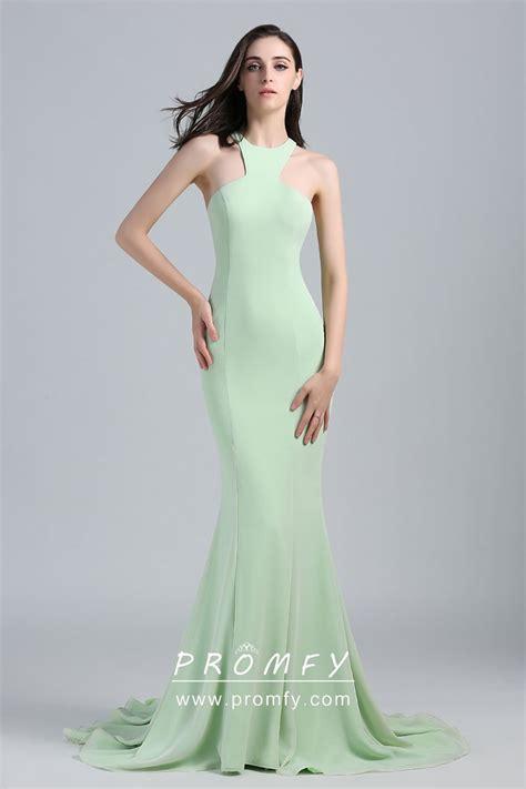 Apple Green Chiffon Halter Crew Neck Formal Dress - Promfy