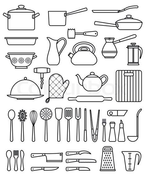 set  silhouette kitchen utensils  stock vector