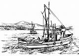 Fishing Coloring Boat Fish Sea Catching sketch template