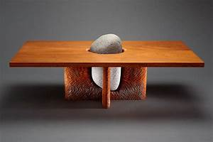 tsubo coffee table stone and wood furniture seth rolland With wood and stone coffee table