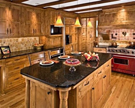 rustic kitchen flooring knotty alder cabinets houzz 2055