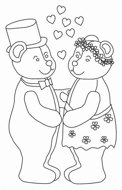 Coloring Pages Bear Marry Bride Teddy Bears