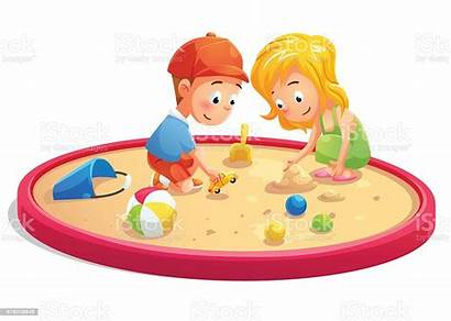 Playing Sandbox Cartoon Sand Playground Clip Istockphoto