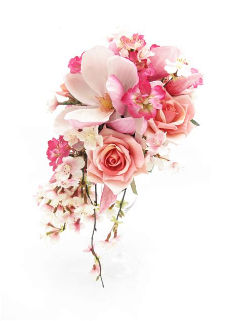 trail bouquet  cherry blossom pink roses stock florets