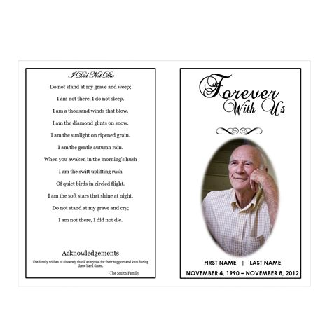 funeral obituary template forever with us funeral phlets