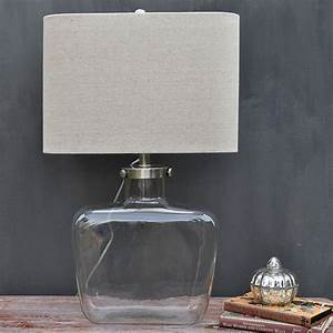 Fillable glass table lamp natural linen shade primrose for Floor lamp with plum shade