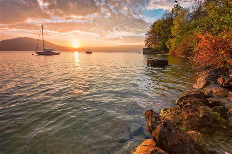 nature, Landscape, Sunset, Sailing Ship, Boathouses, Hill ...