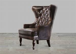 Brompton chocolate leather vintage wing back tufted back chair for Chair back covers for leather chairs