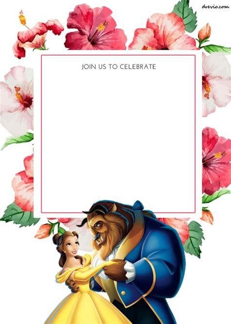 printable disney princess floral invitation template