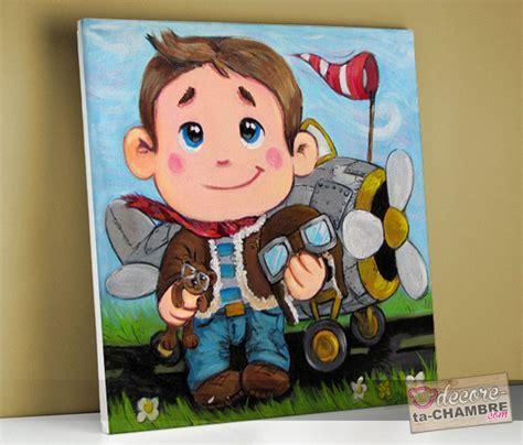 tableau chambre enfants tableau pour enfant frimousse pilote avion vente tableau