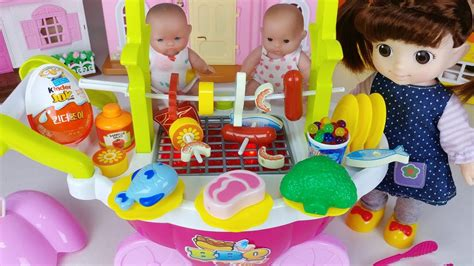 baby doll  grill kitchen cooking car toys surprise eggs