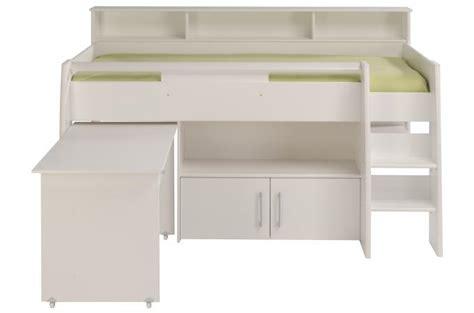 lit mezzanine en imitation bois blanc bureau et armoire