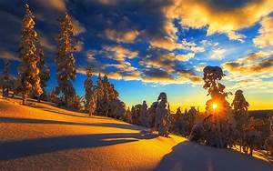 Winter, mountain, snow, trees, sky, clouds, sunset ...