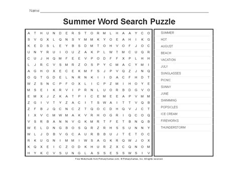 Summer Worksheets Summer Word Search Puzzle  Primarygames  Play Free Online Games