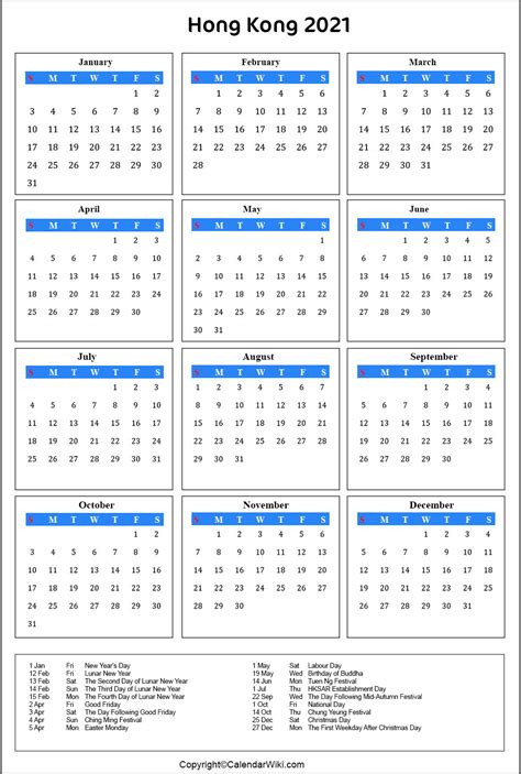 These dates may be modified as official changes are announced, so please check back regularly for updates. Printable Hongkong Calendar 2021 with Holidays [Public ...