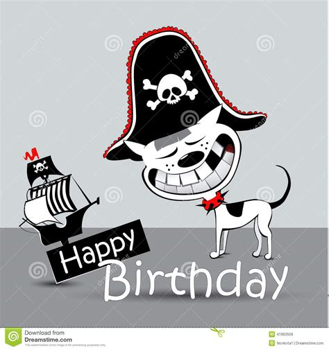 happy birthday card pirate dog funny stock illustration