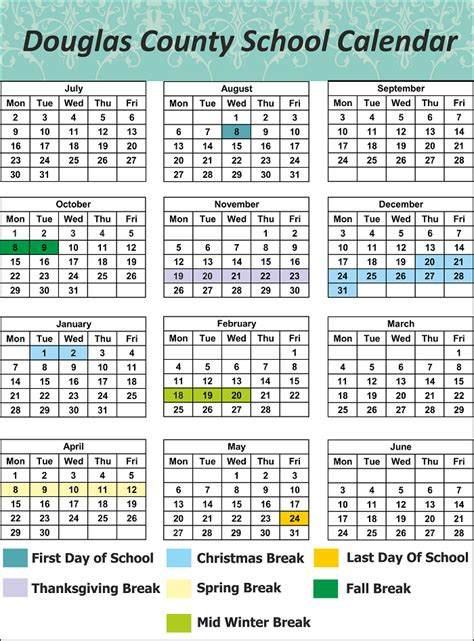 douglas county school calendar world printable chart