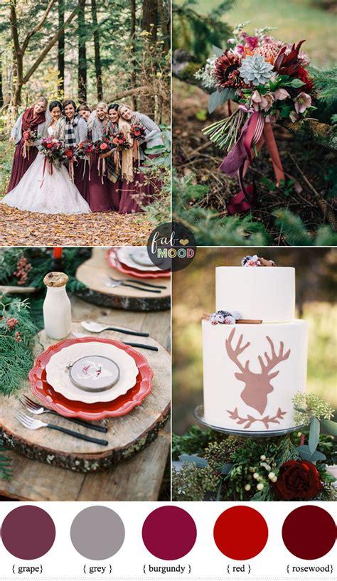woodland wedding theme burgundy grape grey rosewood
