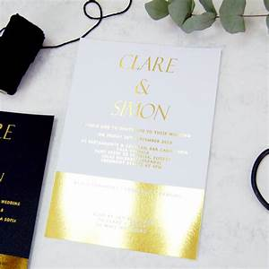 white and gold foil block wedding invitation by made with With foil blocked wedding invitations