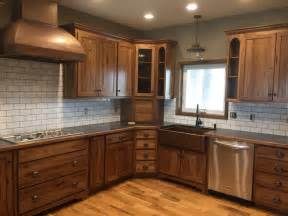 Staining Hardwood Floors Darker by White Subway Tile Dark Grout With Stained Hickory
