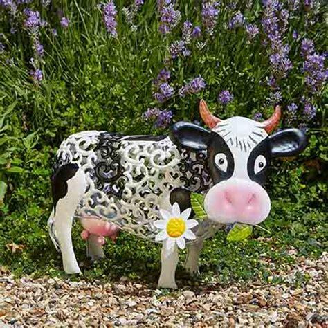 vache d 233 corative solaire en m 233 tal jardin et saisons