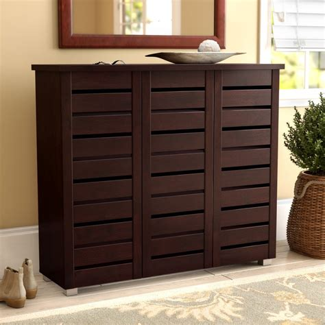 darby home   pair slatted shoe storage cabinet