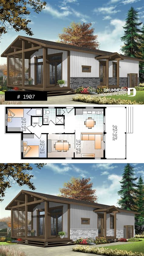 modern rustic  sqft tiny small house plan  versatile  bedrooms large covered deck