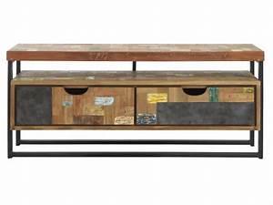 Tv Lowboard Metall : tv regal im industriedesign lowboard aus metall und holz mit zwei schubladen l nge 112 cm ~ Indierocktalk.com Haus und Dekorationen