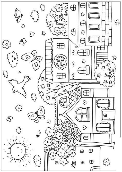 coloriage de printemps dessin petit village au printemps