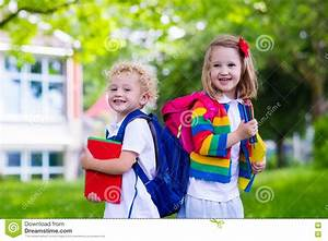 Kids on first school day stock image. Image of laugh ...