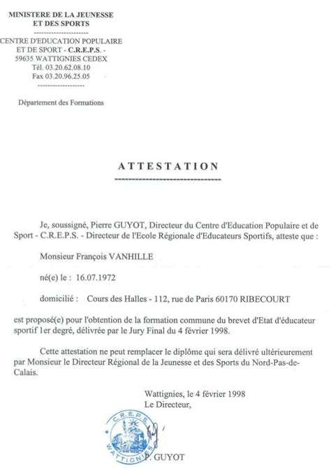 modele certificat sportif document